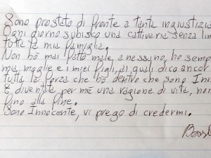 Immagine lettera scritta da Massimo Bossetti